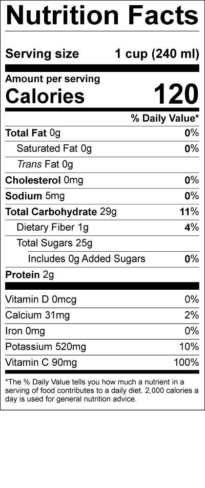 Smith's 100 Percent Florida Orange Juice Nutrition Label
