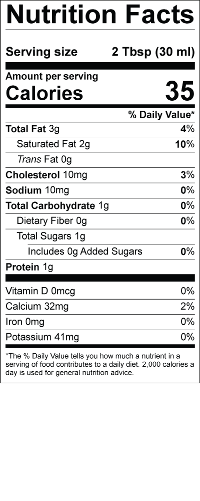 Smith's Fresh Half and Half Nutritional Label