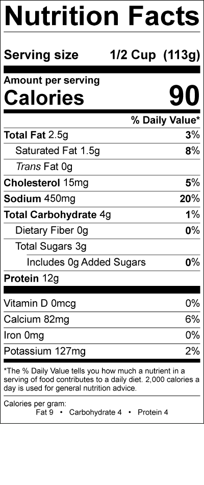 Smith's Low Fat Cottage Cheese Nutrition Label